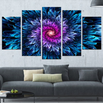 Magical Glowing Fractal Flower Floral Art Canvas Print - 4 Panels