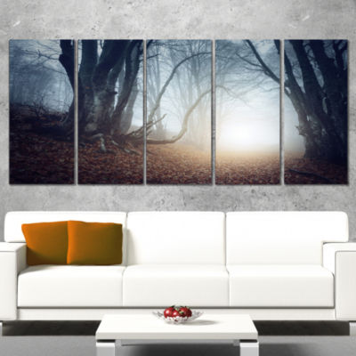 Designart Magical Trees in Mysterious Forest Modern Forest Canvas Wall Art - 4 Panels
