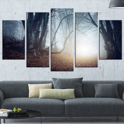 Designart Magical Trees in Mysterious Forest Modern Forest Wrapped Canvas Wall Art - 5 Panels
