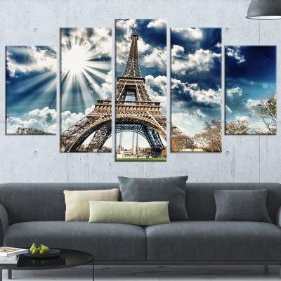 Magnificent Paris Eiffel Towerview Skyline Photography Canvas Art - 4 Panels