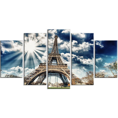 Designart Magnificent Paris Eiffel Towerview Skyline Photography Wrapped Canvas Art - 5 Panels