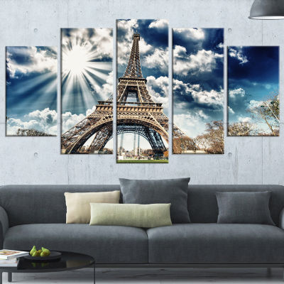 Designart Magnificent Paris Eiffel Towerview Skyline Photography Canvas Art - 5 Panels