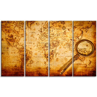 Designart Magnifying Glass on World Map Abstract Canvas ArtPrint - 4 Panels