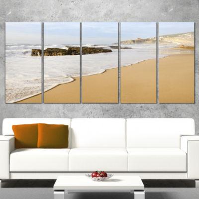 Designart Magoito Beach Portugal Seascape Canvas Art Print -4 Panels