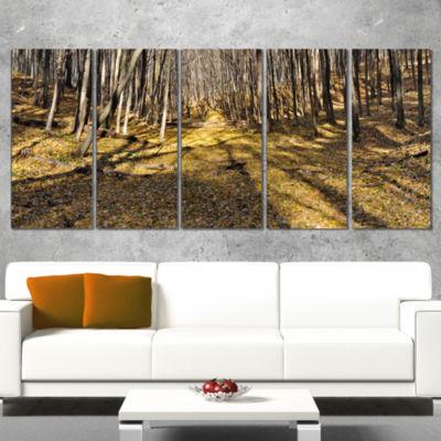 Designart Majestic Autumn Forest Panorama Landscape ArtworkCanvas - 4 Panels