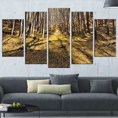 Designart Majestic Autumn Forest Panorama Landscape ArtworkWrapped Canvas - 5 Panels