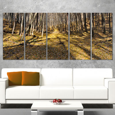 Designart Majestic Autumn Forest Panorama Landscape ArtworkCanvas - 5 Panels