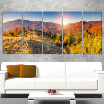 Designart Majestic Fall Mountains Range LandscapePrint Wrapped Wall Artwork - 5 Panels