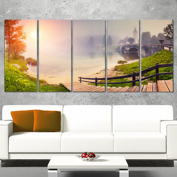 Designart Majestic Foggy Morning in Lake LandscapeCanvas Art Print - 5 Panels