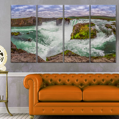 Designart Majestic Godafoss Waterfall Iceland Landscape Print Wall Artwork - 4 Panels
