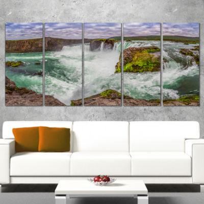 Majestic Godafoss Waterfall Iceland Landscape Print Wrapped Wall Artwork - 5 Panels