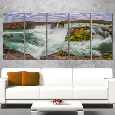 Designart Majestic Godafoss Waterfall Iceland Landscape Print Wall Artwork - 5 Panels