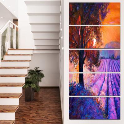 Designart Majestic Lavender Field and Tree FloralCanvas ArtPrint - 5 Panels