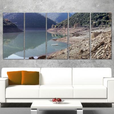 Designart Majestic Mountain Lake Panorama Landscape WrappedCanvas Art Print - 5 Panels