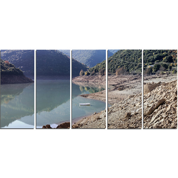 Designart Majestic Mountain Lake Panorama Landscape Canvas Art Print - 5 Panels