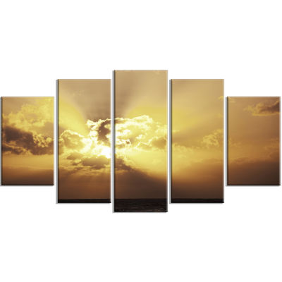 Majestic Sea Sunset Through Clouds Landscape Wrapped Wall Art on Canvas - 5 Panels