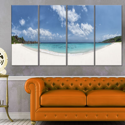 Majestic Seychelles Beach Panorama Large SeascapeArt Canvas Print - 4 Panels