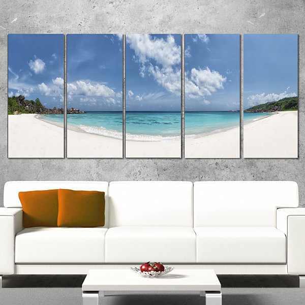 Designart Majestic Seychelles Beach Panorama LargeSeascapeArt Canvas Print - 4 Panels