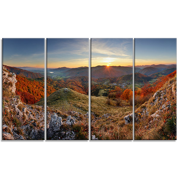 Majestic Sunset in Mountain Landscape Landscape Artwork Canvas - 4 Panels