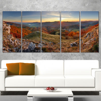 Designart Majestic Sunset in Mountain Landscape Landscape Artwork Wrapped Canvas - 5 Panels