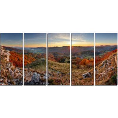 Designart Majestic Sunset in Mountain Landscape Landscape Artwork Canvas - 5 Panels