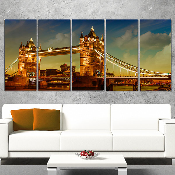 Majesty of Tower Bridge Cityscape Photography Canvas Print - 4 Panels