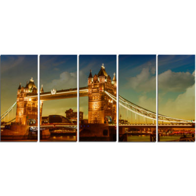 Majesty of Tower Bridge Cityscape Photography Canvas Print - 5 Panels