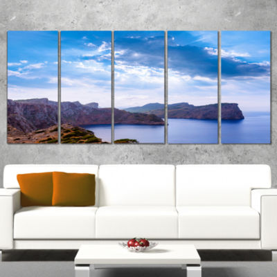 Designart Majorca Formentor Cape Rocks Extra LargeSeascapeArt Wrapped Canvas - 5 Panels
