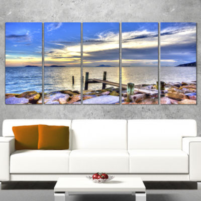 Designart Makeshift Wooden Pier into The Sea LargeSeashoreWrapped Canvas Print - 5 Panels