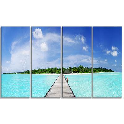 Designart Maldives Panorama Seascape Photography Canvas ArtPrint - 4 Panels