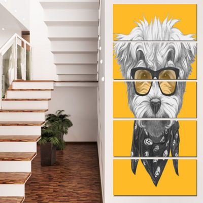 Designart Maltese Poodle With Sunglasses Animal Canvas Art Print - 4 Panels