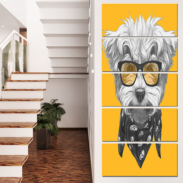 Designart Maltese Poodle With Sunglasses Animal Canvas Art Print - 5 Panels