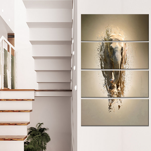 Designart Mammoth Elephant Walking Animal Canvas Wall Art -4 Panels