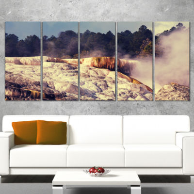 Mammoth Hot Springs View Landscape Canvas Art Print - 5 Panels