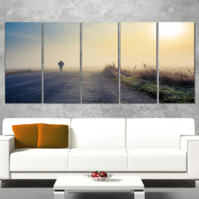 Designart Man Silhouette in Fog Landscape Photo Canvas Art Print - 4 Panels