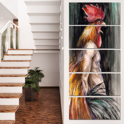 Man With Wings and Rooster Head Abstract Canvas Art Print - 4 Panels
