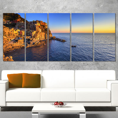 Designart Manarola Village Beach Panorama Oversized Landscape Wrapped Wall Art Print - 5 Panels