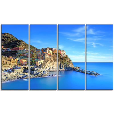 Manarola Village in Rocks and Sea Beach Photo Canvas Print - 4 Panels