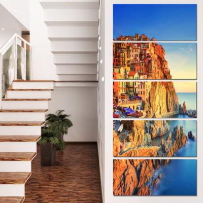Designart Manarola Village View At Sunset Beach Photo CanvasPrint - 4 Panels