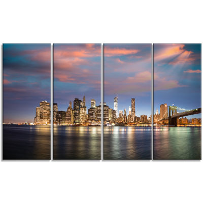 Manhattan At Nighttime Cityscape Photography Canvas Print - 4 Panels
