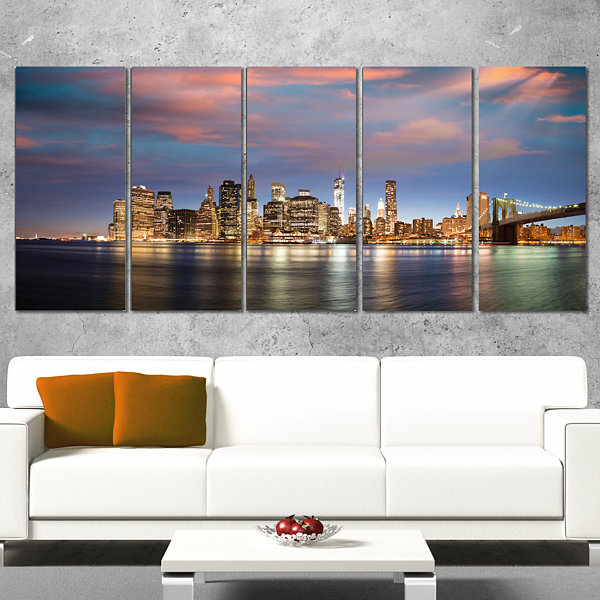 Manhattan At Nighttime Cityscape Photography Canvas Print - 5 Panels