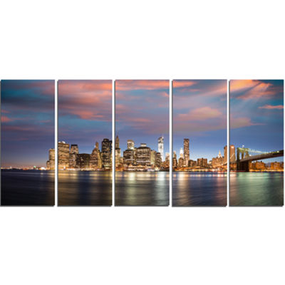 Designart Manhattan At Nighttime Cityscape Photography Canvas Print - 5 Panels