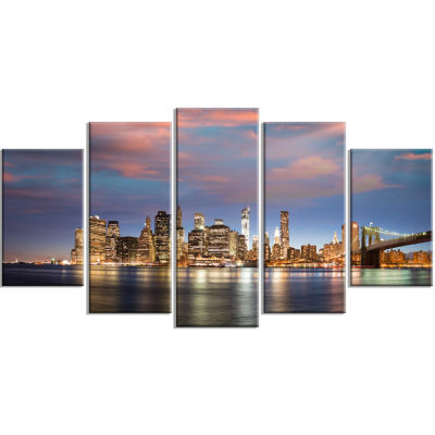 Manhattan At Nighttime Large Cityscape PhotographyCanvas Print - 5 Panels