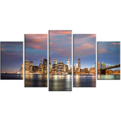 Designart Manhattan At Nighttime Large Cityscape PhotographyCanvas Print - 5 Panels