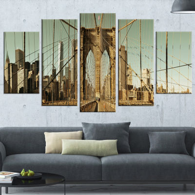 Manhattan Bridge in New York Brown Cityscape Wrapped Canvas Print - 5 Panels