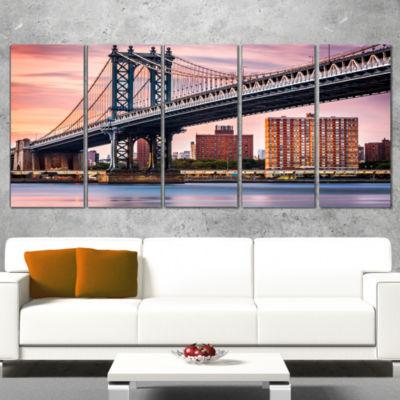 Designart Manhattan Bridge Under Purple Sky Cityscape PhotoCanvas Print - 4 Panels