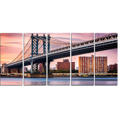 Designart Manhattan Bridge Under Purple Sky Cityscape PhotoCanvas Print - 4 Panels