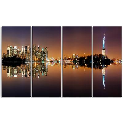 Designart Manhattan City Panorama Cityscape Photography Canvas Print - 4 Panels