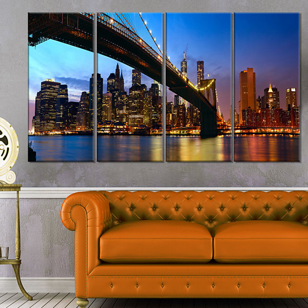 Designart Manhattan City With Bridge Under Blue Sky Cityscape Canvas Print - 4 Panels