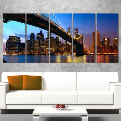 Designart Manhattan City With Bridge Under Blue Sky Cityscape Canvas Print - 5 Panels